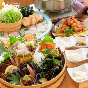 高知県 藁焼き鰹の桶盛りと地産鱧のしゃぶしゃぶコース